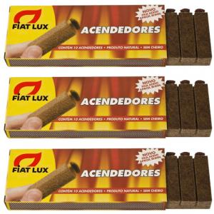 Kit Acendedor Churrasqueira Bastão 3 Caixas 30 Unidades - Fiat Lux
