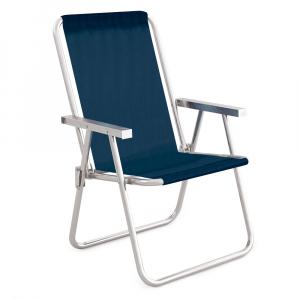 Cadeira de Praia Alta +Conforto Alumínio Tela Sannet Azul Marinho - Mor