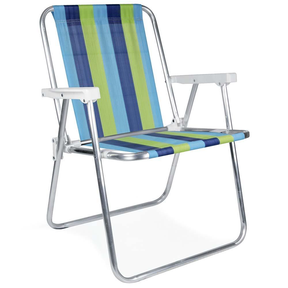 Cadeira de Praia Alumínio Alta (Estampa 2220) - Mor