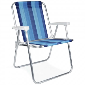Cadeira de Praia Alumínio Alta (Estampa 2221) - Mor