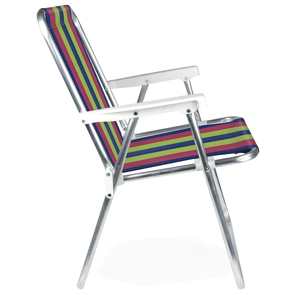 Cadeira de Praia Alumínio Alta (Estampa 2224) - Mor