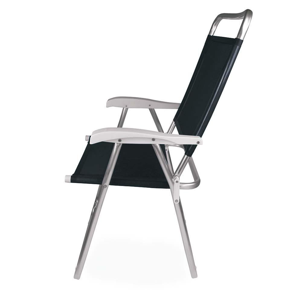 Cadeira de Praia Alumínio Master Plus Tela Sannet Preto - Mor