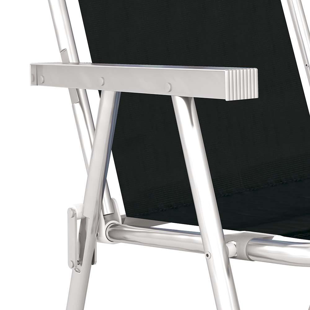 Cadeira Praia Alta +Conforto Alumínio Tecido Sannet Preto - Mor