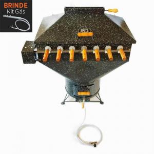 Churrasqueira Apolo Plus 7 Espetos Rotativos Esmaltada Gás ou Carvão 220V - Weber