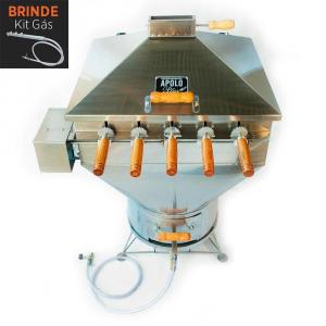 Churrasqueira Apolo Plus 5 Espetos Giratórios Inox Gás ou Carvão - Weber
