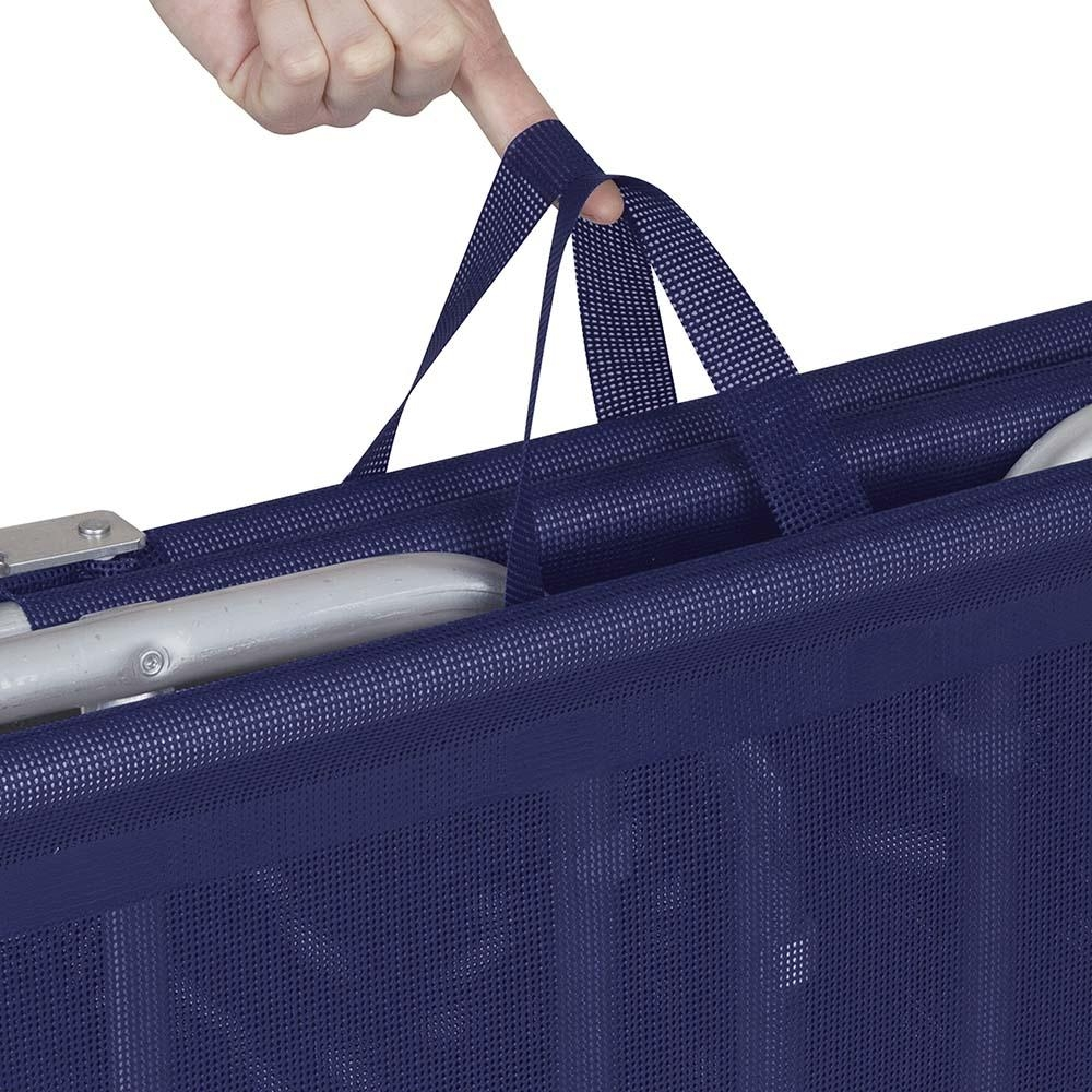 Espreguiçadeira Azul Dobrável 4 Posições +Conforto Alumínio - Mor
