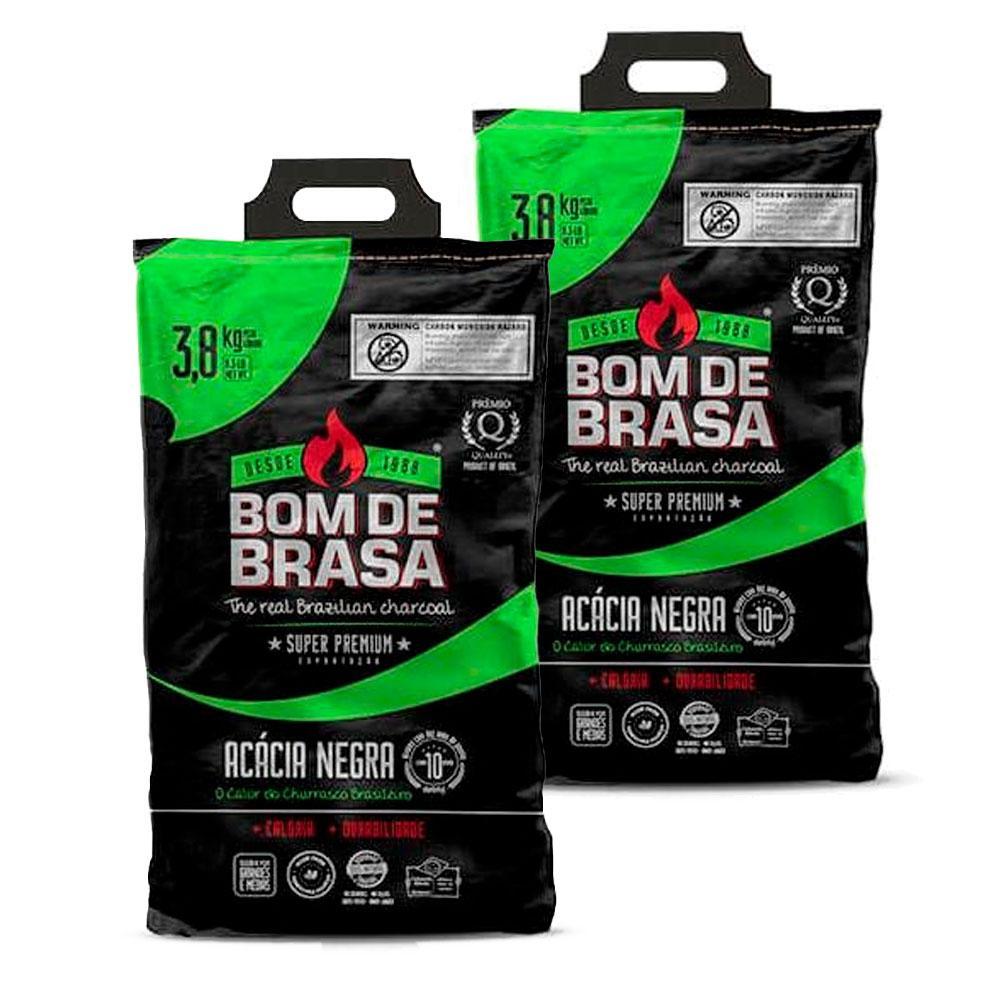 Bom de Brasa - Kit 2X Carvão Parrilla Super Premium 3,8Kg