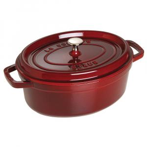 Staub França - Caçarola Oval Vermelho Granada Ferro Fundido 27 cm