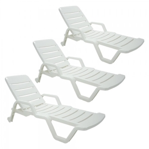 Kit Promocional 3X Cadeira Espreguiçadeira em Plástico Branco Leblon - Tramontina