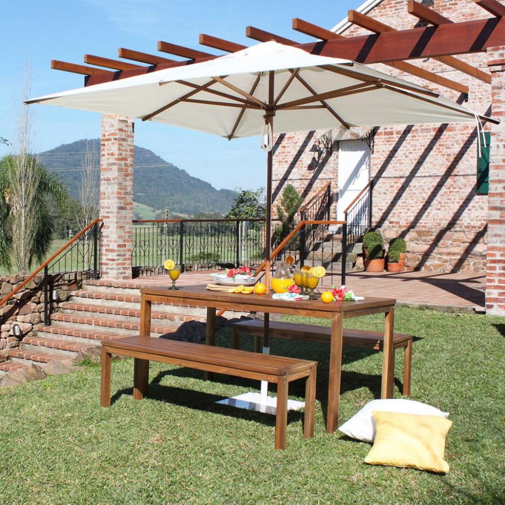 Ombrelone Central de Madeira Quadrado Premium 2,4 x 2,4 m - Madesol
