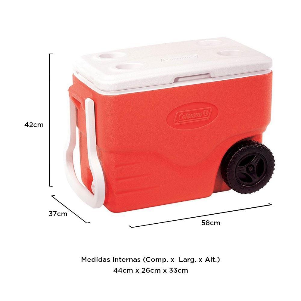 Coleman - Caixa Térmica Vermelho c/ Rodas 38 Litros