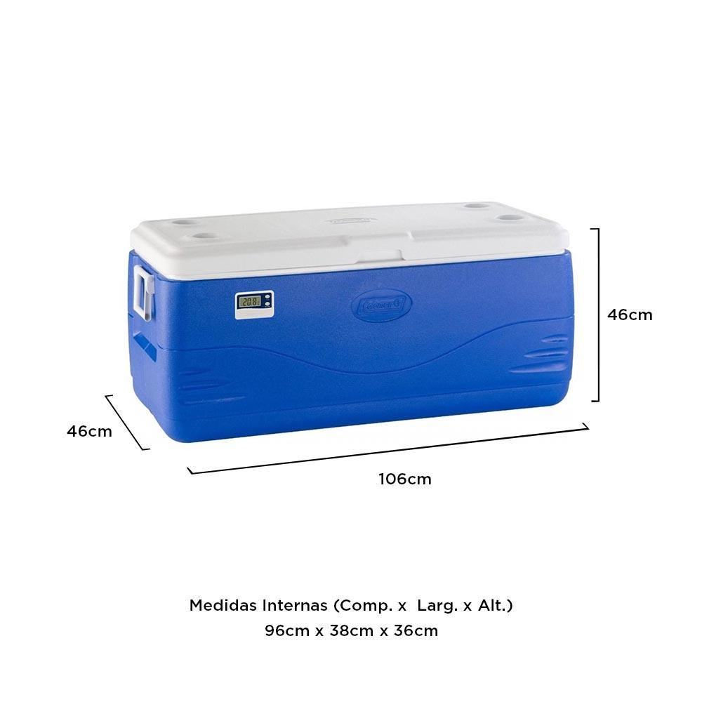 Coleman - Caixa Térmica Azul c/ Termômetro Digital 142 Litros