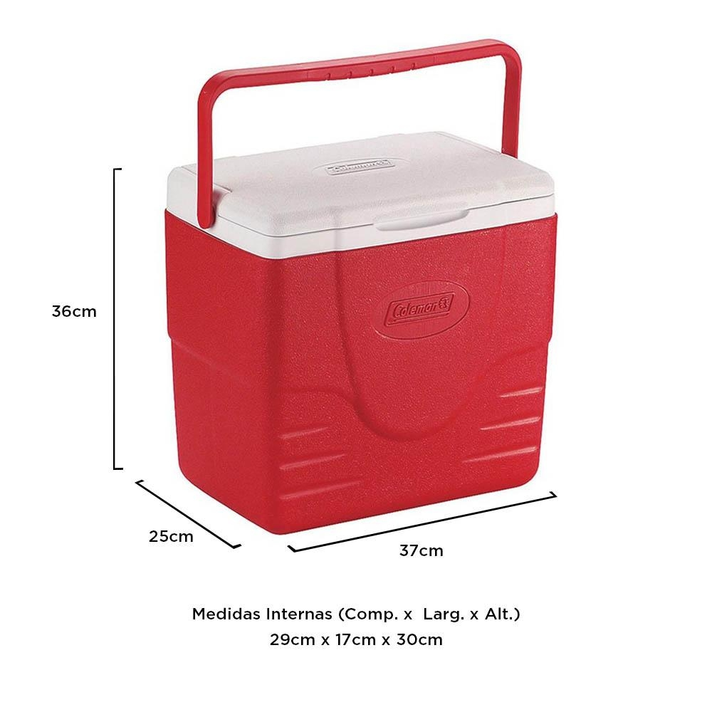 Coleman - Caixa Térmica Vermelha c/ Termômetro Digital Alça Superior 15 Litros