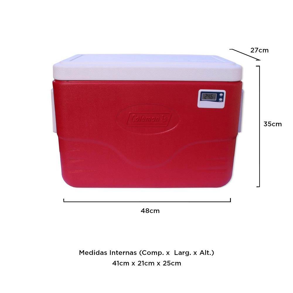 Coleman - Caixa Térmica Vermelha c/ Termômetro Digital 26 Litros