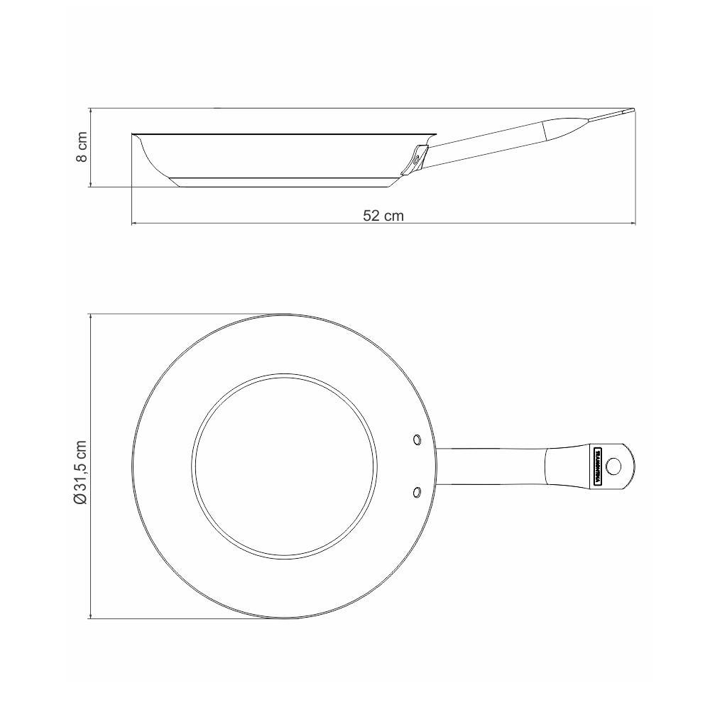 Frigideira Profissional Fundo Triplo Aço Inox Antiaderente Ø30 cm - Tramontina