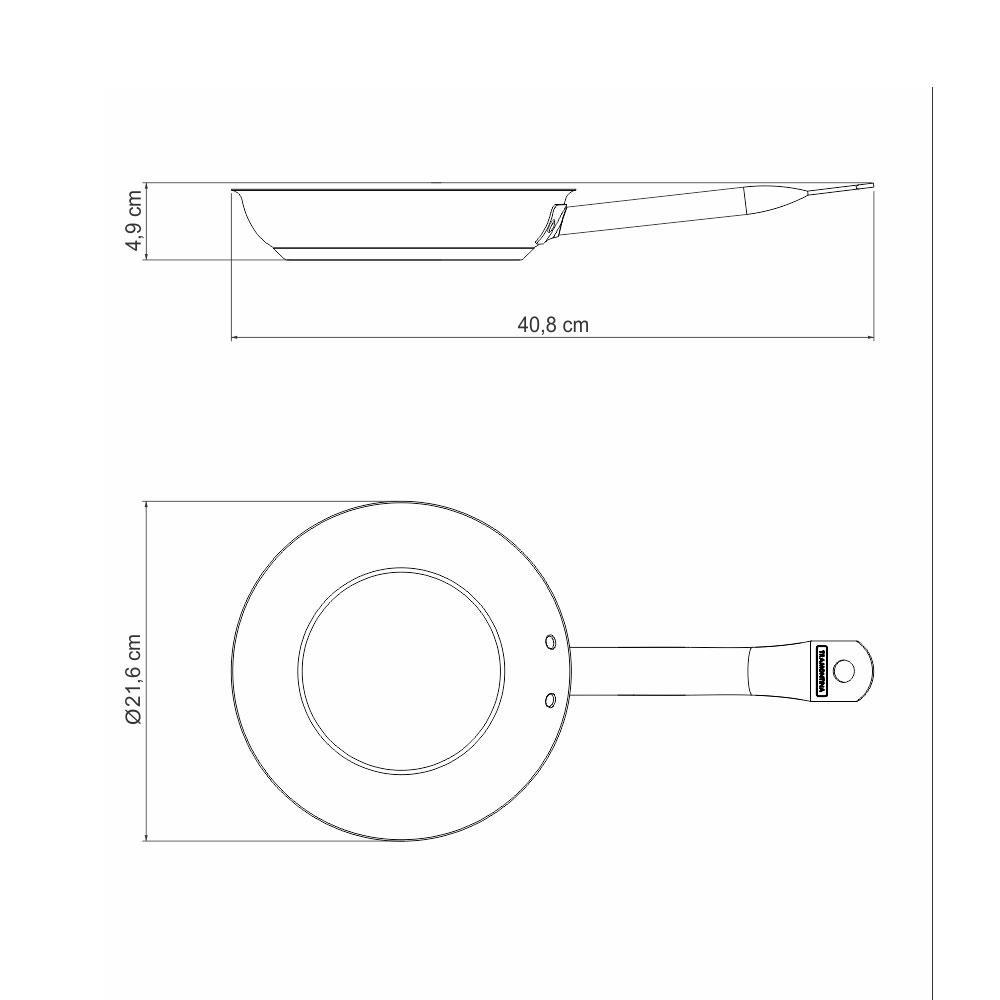 Tramontina - Frigideira Profissional Fundo Triplo Aço Inox Antiaderente Ø20 cm