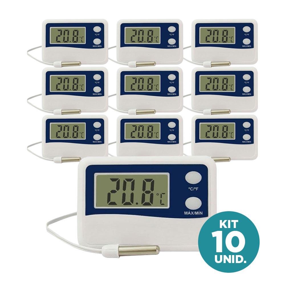 Incoterm - Kit 10X Termômetro Função Máx/Min c/ Cabo 50 cm para Refrigeração