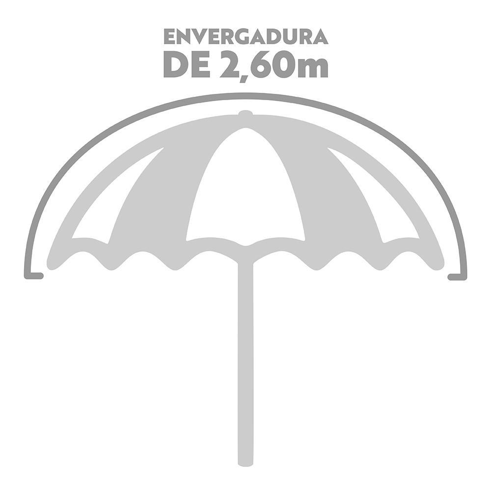 Guarda-Sol Grande Alumínio Articulável Ø2,6 m (Verde Água e Branco) - Mor