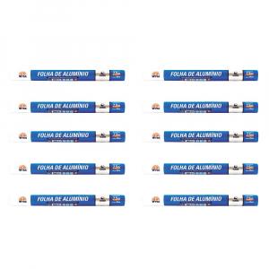 Kit 10X Rolo Papel Alumínio Simples (7,5m / 45cm) - Wyda
