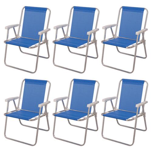 Kit Cadeira de Praia Alumínio Alta Sannet 6 Unidades - Mor