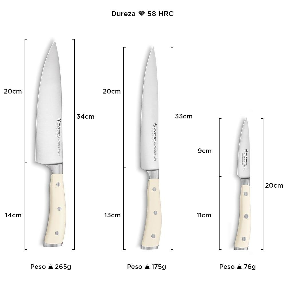 Wüsthof Classic Ikon Crème - Kit 3 Facas (Chef/Trinchar/Legumes) 9601-0