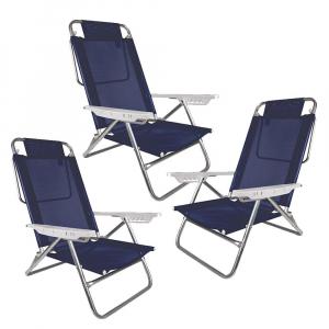 Kit  3 Cadeiras de Praia Summer Reclinável Alumínio 6 Posições - Mor