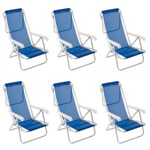Kit Cadeira de Praia Reclinável Alumínio 8 Posições Sannet 6 Unidades - Mor