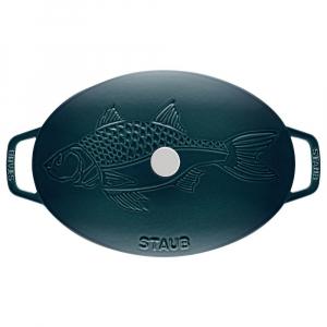 Staub La Mer - Travessa c/ Tampa Oval Gravura Peixe Ferro Fundido Turquesa 33 cm