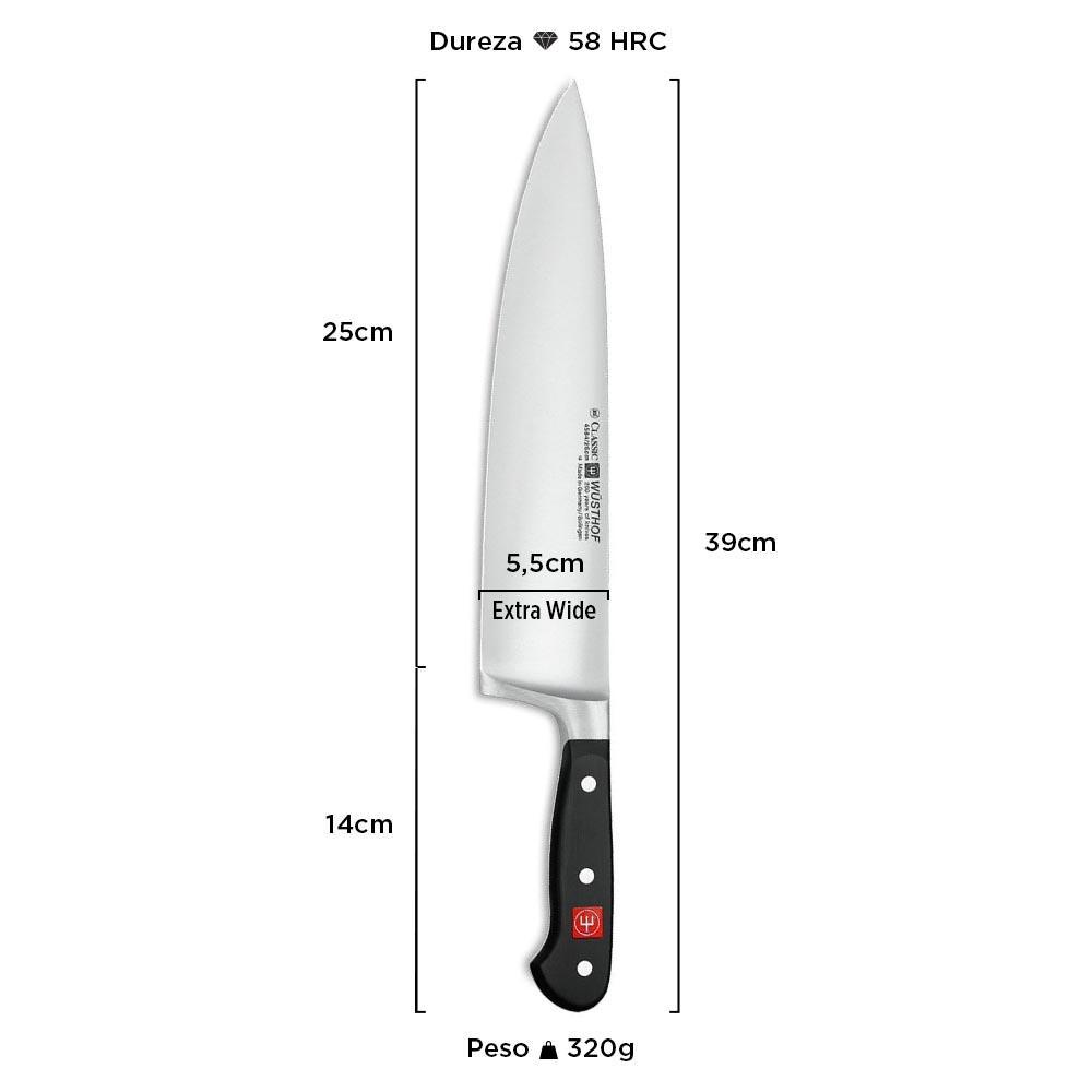 "Faca Chef Lâmina Larga (Extra Wide) Classic 10"" 4584/26 - Wüsthof"