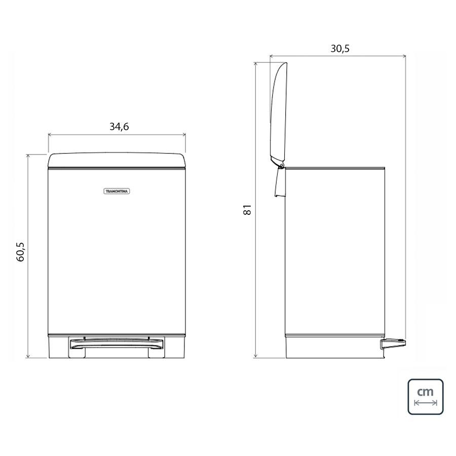 Lixeira D Slim Pedal Inox 30L - Tramontina