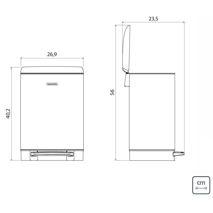 Lixeira D Slim Pedal Inox 12L - Tramontina