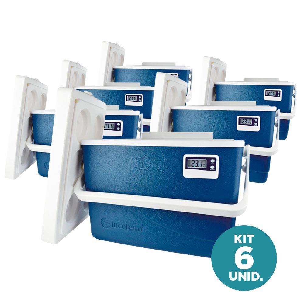 Incoterm - Kit 6X Caixa Térmica c/ Termômetro Máx/Min 15 Litros