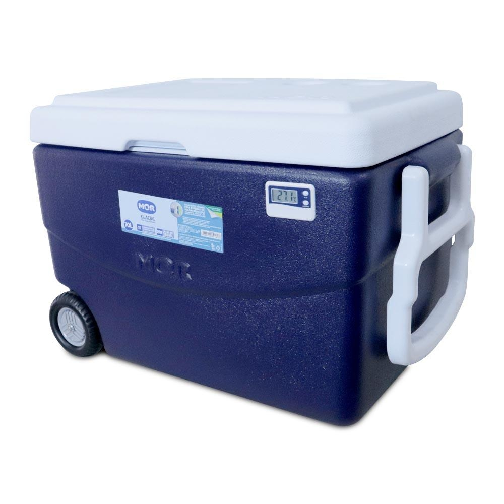 Caixa Térmica 70 Litros c/ Termômetro Máx/Mín e Rodas - Mor