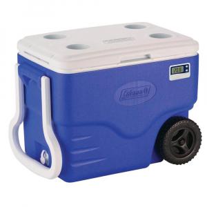 Caixa Térmica Azul c/ Termômetro Digital e Rodinhas 38 Litros - Coleman