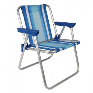 Cadeira de Praia Infantil Alumínio Alta Azul - Mor
