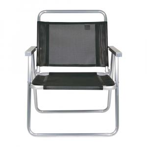 Cadeira de Praia Alumínio Oversize Preto (suporta 140kg) - Mor