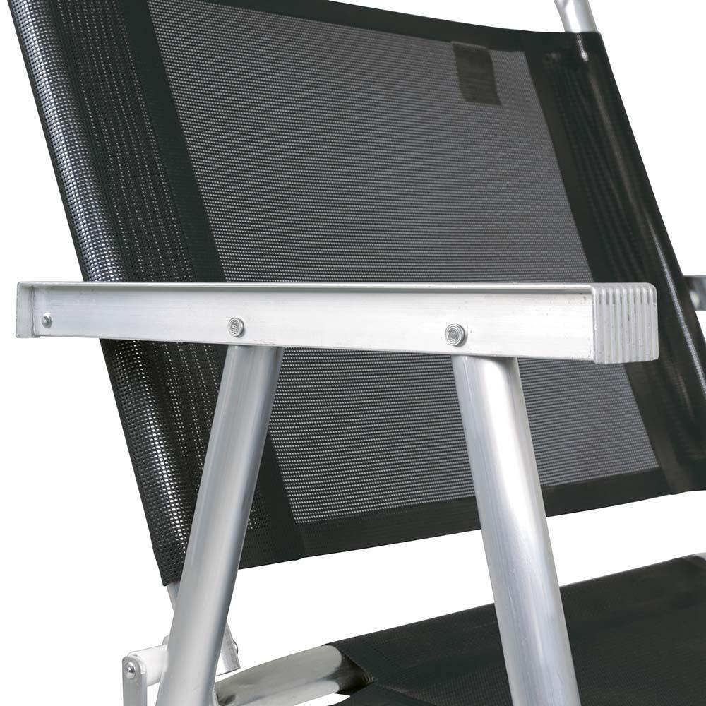 Cadeira Praia Alumínio Oversize Preto (suporta 140kg) - Mor