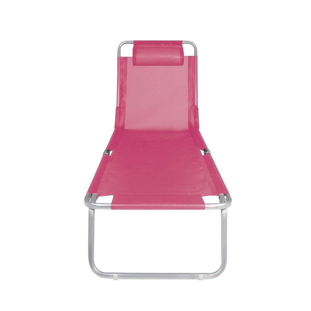 Espreguiçadeira Rosa Dobrável 4 Posições +Conforto Alumínio - Mor