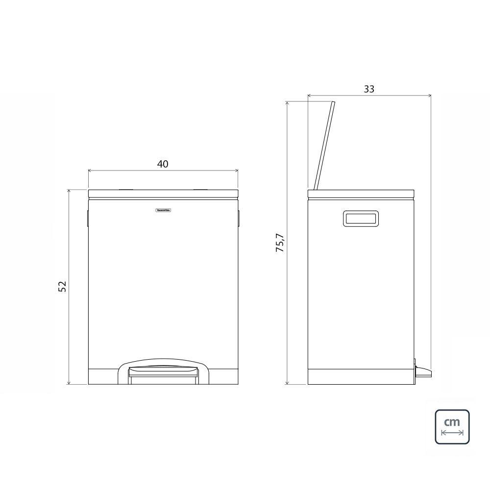 Lixeira Quadratta Plus Dupla c/ Pedal Aço Inox 2 x 15 Litros - Tramontina