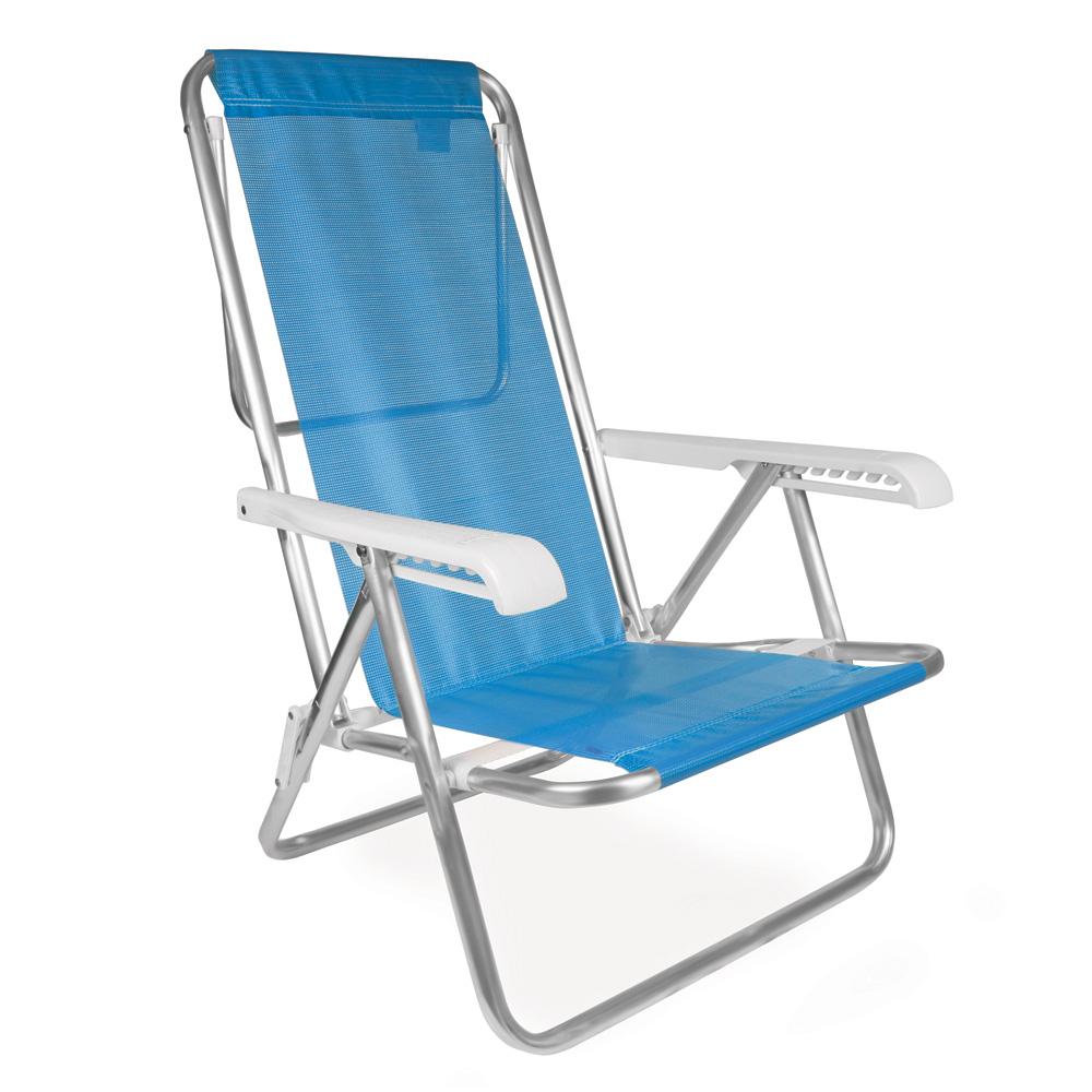Cadeira de Praia Reclinável Alumínio 8 Posições Sannet - Mor