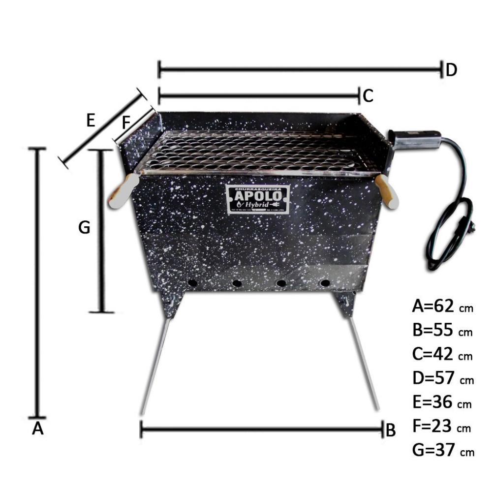 Churrasqueira Apolo Hybrid Esmaltada Carvão ou Elétrica (220V) - Weber