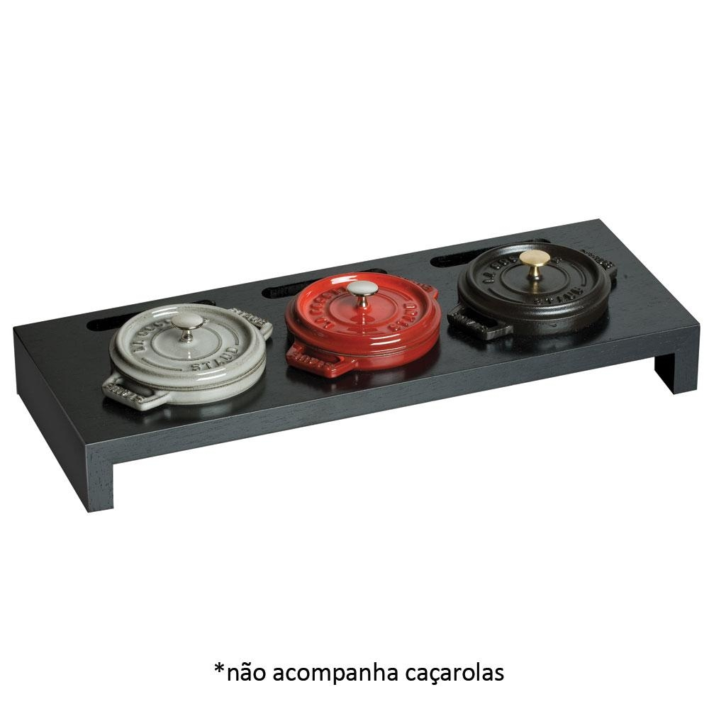 Suporte Madeira Preto p/ 3 Mini Caçarolas - Staub
