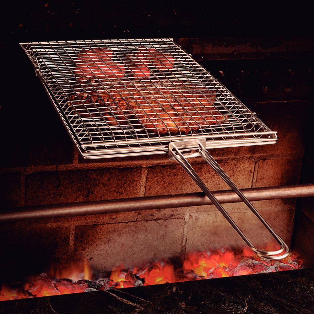Grelha p/ Churrasqueira Acabamento Xadrez Inox 27 x 42 cm - Tramontina
