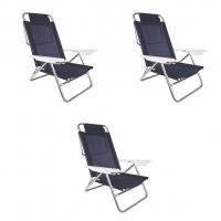 Kit Cadeira de Praia Reclinável Alumínio com Travesseiro 6 Posições Sol de Verão 3 Unidades - Mor