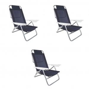 Kit 3 Cadeiras de Praia Summer com Almofada Alumino Reclinável 6 Posições - Mor