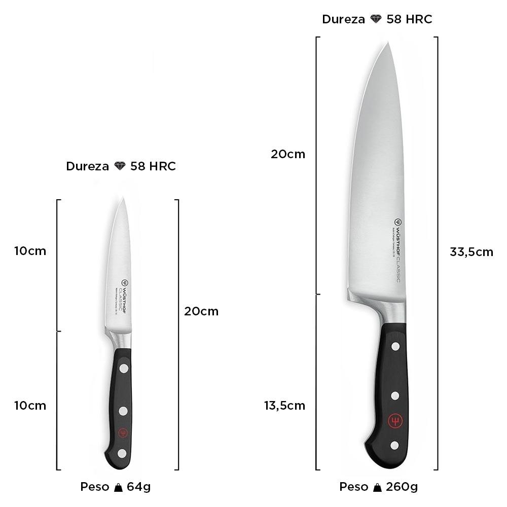 Conjunto de Facas Wüsthof 3 Peças (Chef/Legumes/Afiador) Classic 9608-5